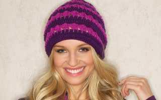 Женские вязаные шапки крючком на зиму